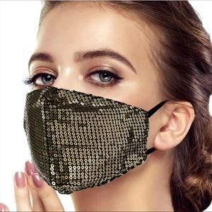 Accessories - Any 2 $30 Gold and Black Sparkle Sequin Facemask